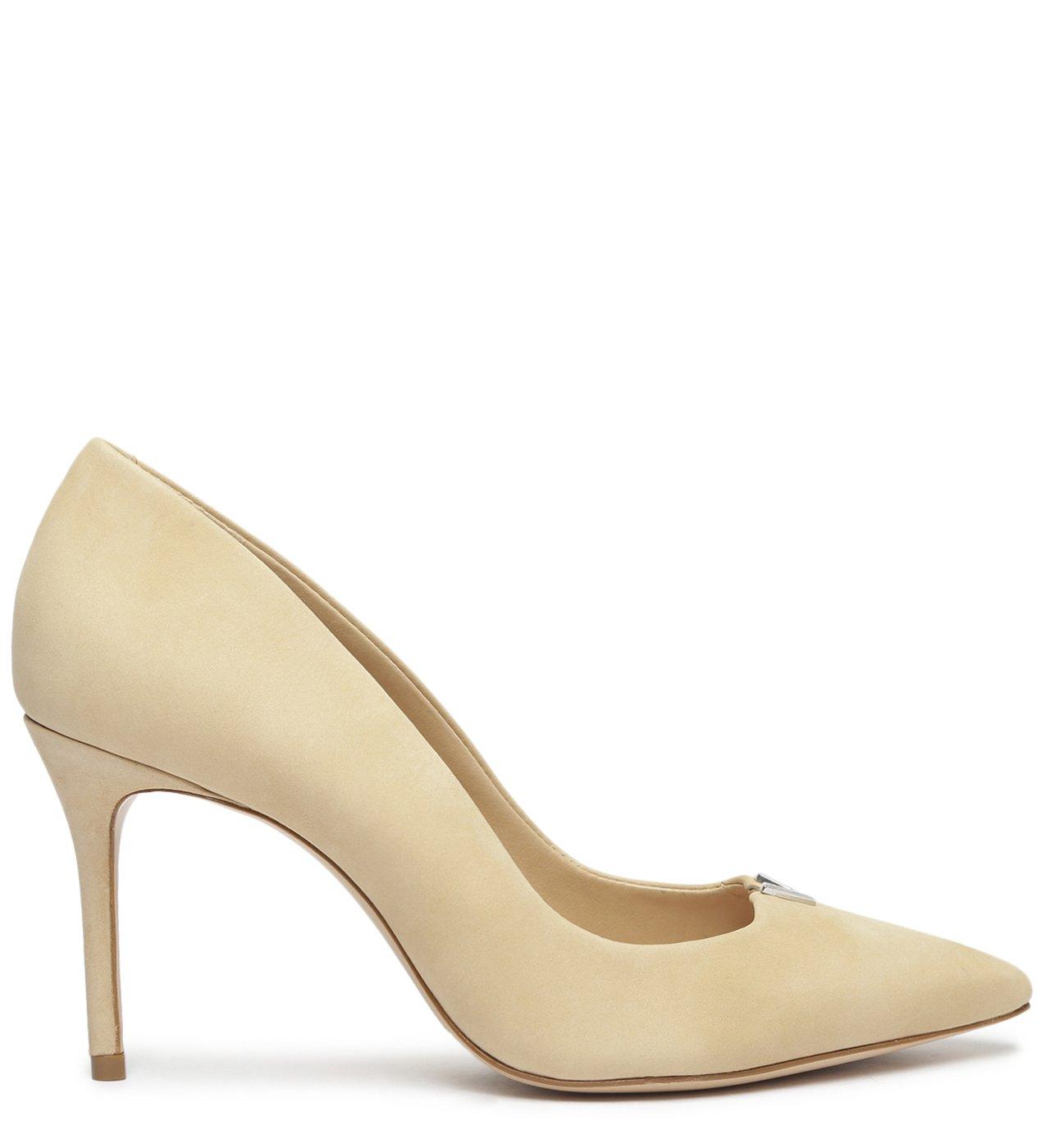 Sapato Scarpin Salto Fino Nobuck Bege | Schutz