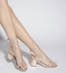 SANDÁLIA BLOCK HEEL LACE-UP GLAM PLATINA