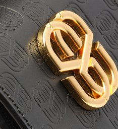 Bolsa Tiracolo Pequena Emblem Couro Preta