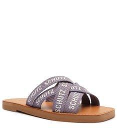 Sandália Rasteira de X Tecido Logo Schutz Lilás
