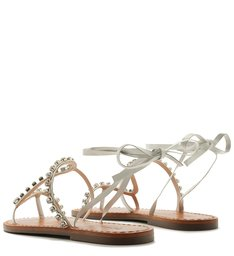 FLAT LACE-UP SNAKE GLAM STONES WHITE