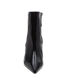 Bota Mid Heel Croco Verniz Black