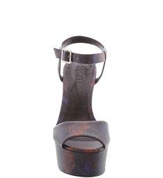 Sandália Plataforma Com Salto Preto