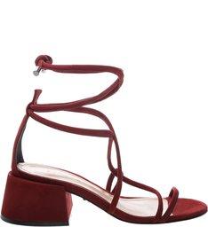 Sandália Chunky Heel Lace-up Red
