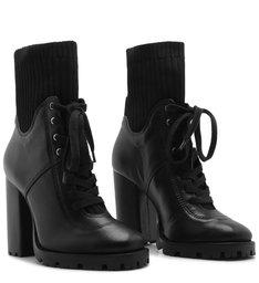 Combat Boot Salto Bloco Knit Preta