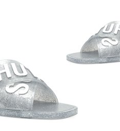 Rasteira de X Logo Schutz Jelly Glitter Prata