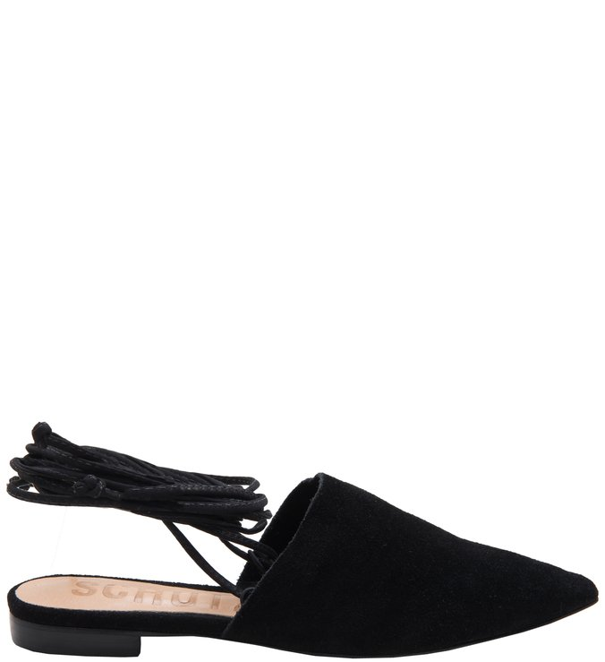 Flat Lace Up Black