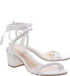 Sandália Minimal Block Heel White Com Amarração