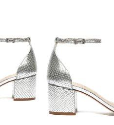 Sandália Minimal Block Heel Snake Prata