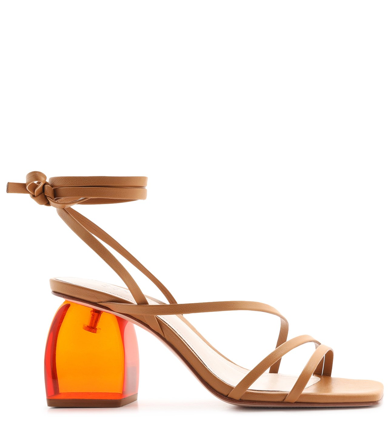 Sandália Salto Bold Acrilic Lace-Up Honey | Schutz