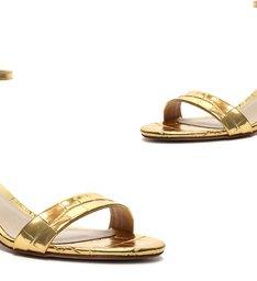 Sandália Minimal Block Heel Croco Gold