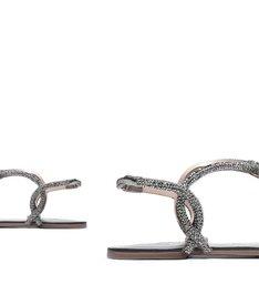 Sandália Rasteira Metal Cinza