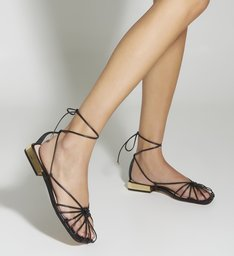 Flat Strings Lace-Up Cage Black