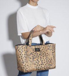 SHOPPING BAG NEOPRENE LEOPARD PRINT