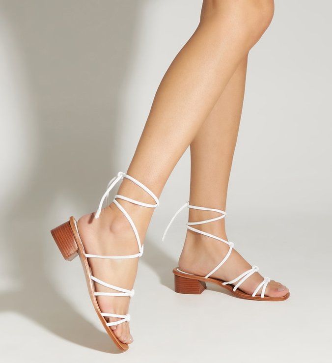 Sandália Micro Block Heel Strings White