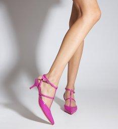 Sapato Scarpin Salto Baixo Tiras Rosa