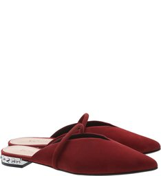 Flat Mule Nobuck Arc Glam Red
