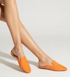 Flat Mule Comfy Suede Tangerine