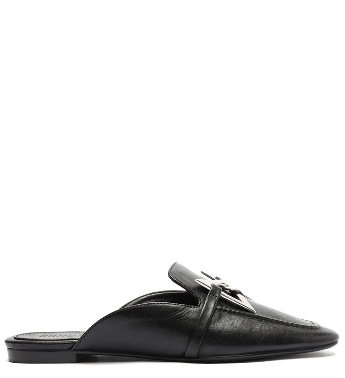 Sapato Mule Rasteira Triangle Couro Preta