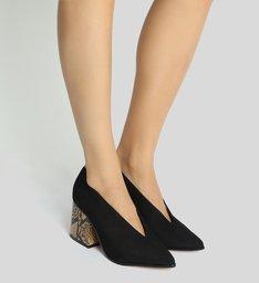 Low Boot Block Heel Python