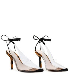 Scarpin Lace-Up Vinil Clear Leopard