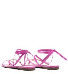 Schutz x Ginger Sandália Flat Lace-Up Pink