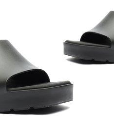 Sandália Tamanco Salto Bloco Tratorado Jelly Preta