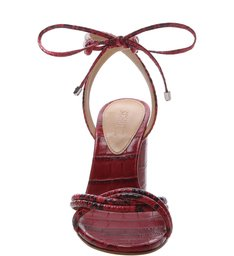 Sandália Salto Cone Lace-Up Python Red