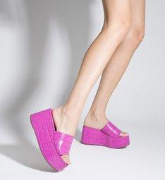 Sandália Tamanco Plataforma Croco Rosa