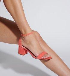 Sandália Minimal Block Heel Nobuck Coral