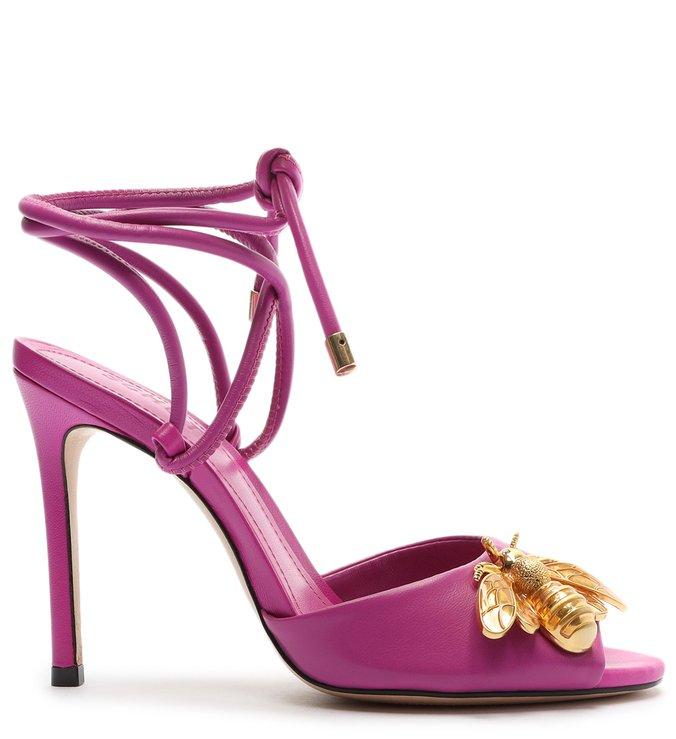Sandália Salto Fino Amarração Bee Rosa