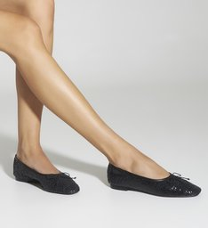 Sapatilha Ballerina Snake Paetê Black