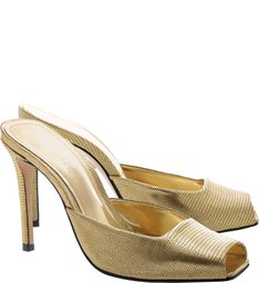 Mule High Open Toe Gold