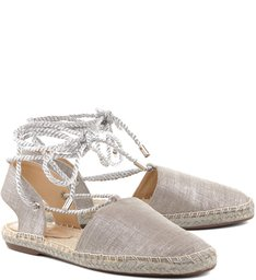 Espadrille Lace Up Flat Prata
