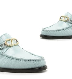 Mocassim Leather Verniz Baby Blue