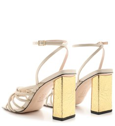 Sandália Salto Gold Knot White