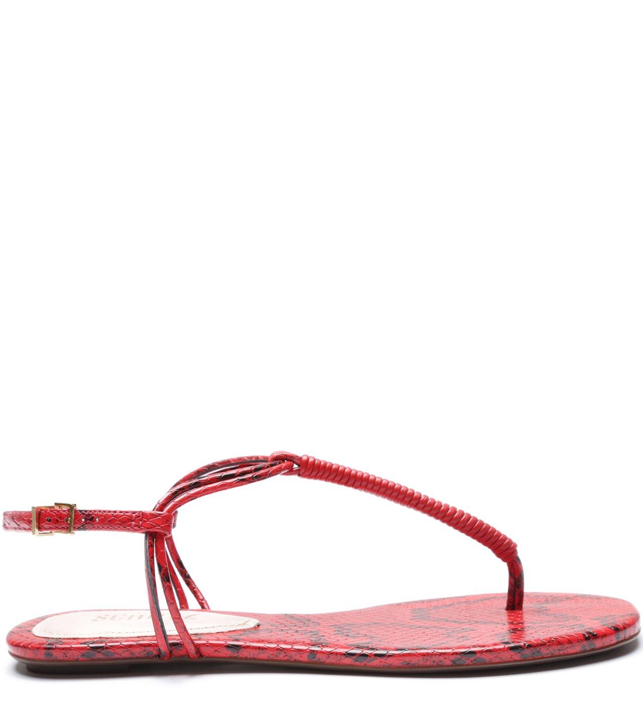 Sandália Rasteira Strings Python Red | Schutz