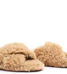 [On Demand] Homewear Flat Slide Lucy Alpaca Camelo