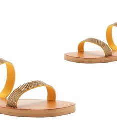 SLIDE DOUBLE STRAP STRASS ORANGE