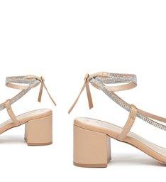 Sandália de Salto Camurça Amarração Bege