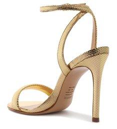 Sandália de Salto Couro Dourada