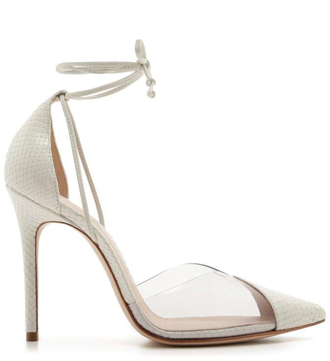 Sapato Scarpin Vinil Snake Branco