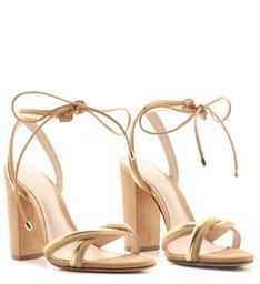 Sandália Salto Twist Gold Honey