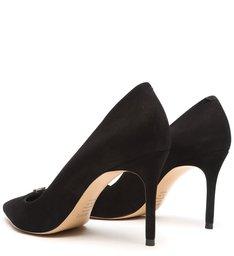 Sapato Scarpin Salto Fino Nobuck Preto