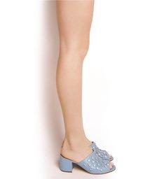 Mule Crystal Block Heel Jeans