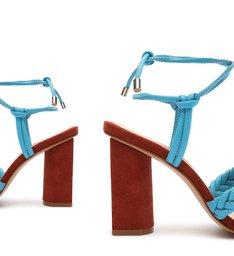 Sandália Salto Alto Camurça Amarração Vermelha e Azul