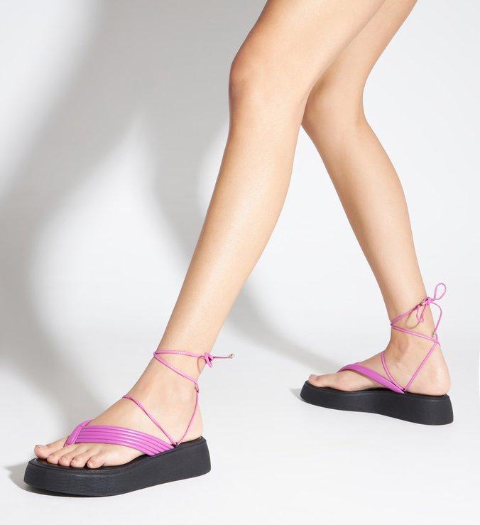 Sandália Papete Flatform Tiras Rosa