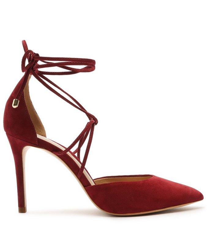 Sapato Scarpin Amarração Camurça Vermelha