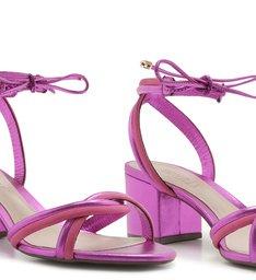 Sandália Salto Bloco Tiras Metalizada Rosa