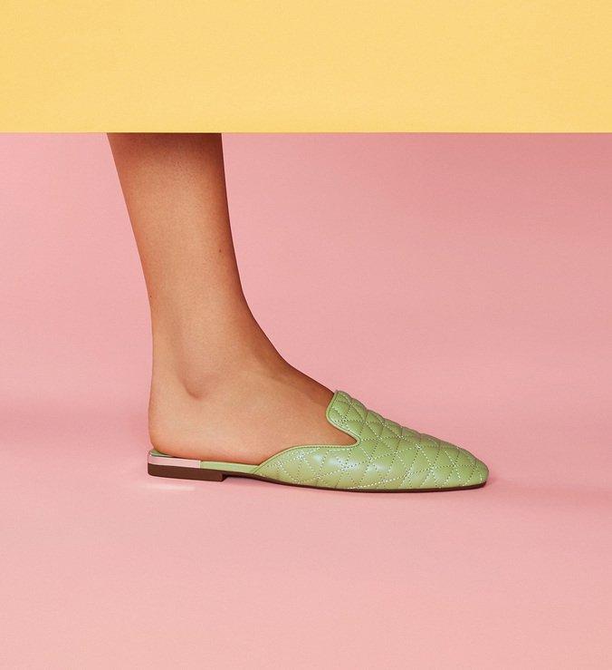 Flat Mule Matelassê Candy Green